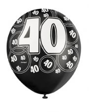 40th Birthday Black Glitz Latex Balloons 12 inch
